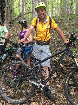 Shrimper Khare biking on Weed Patch Mountain Trail