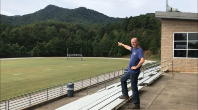 Jerry Stensland points at Little White Oak Mountain