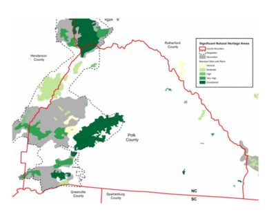 Map of Significant Natural Heritage Areas in Polk County, NC