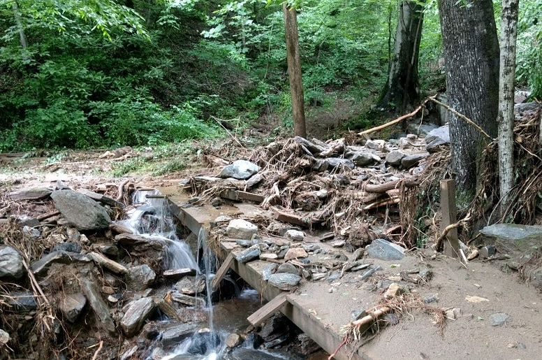 2018 landslides damage at Norman Wilder Forest