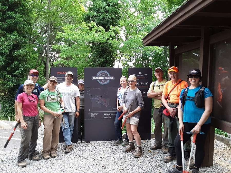 Volunteers at Bracken Mountain Preserve