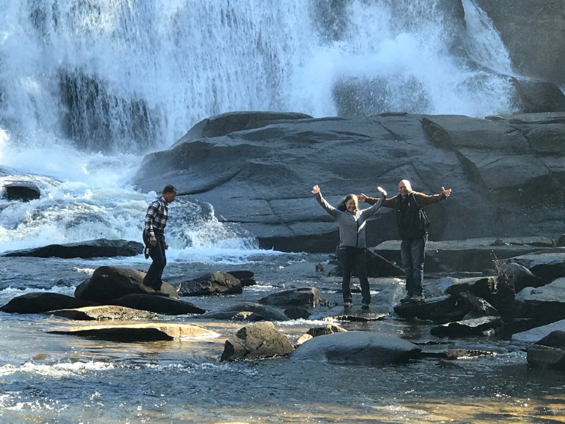 Larry Pender and friends at DuPont waterfalls