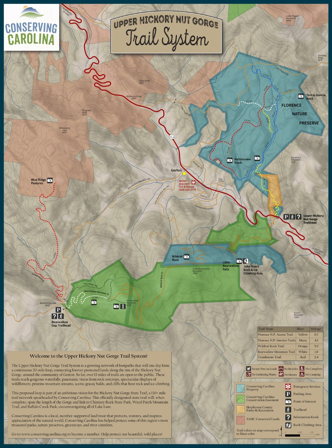 Upper Hickory Nut Gorge Trail Map
