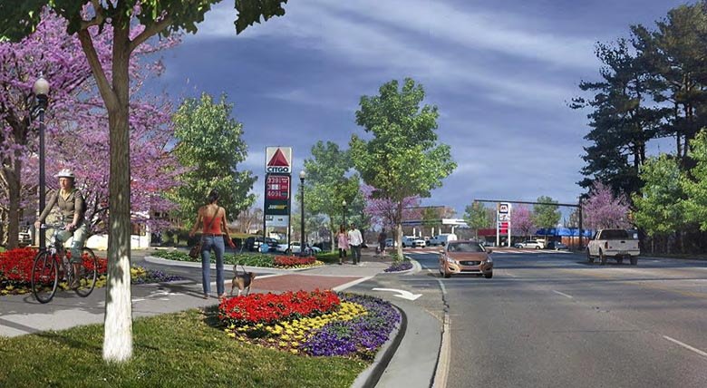 Mills River Town Center with 280 multiuse path