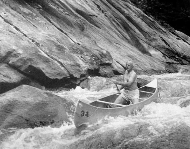 Frank Bell in Canoe
