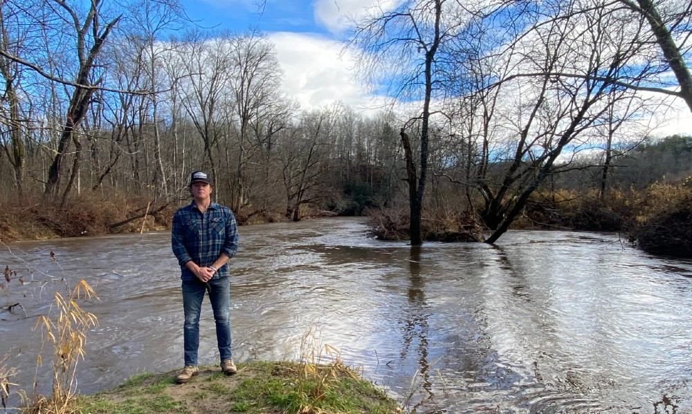 Woody Platt at the confluence of the East Fork and the main stem of the French Broad River