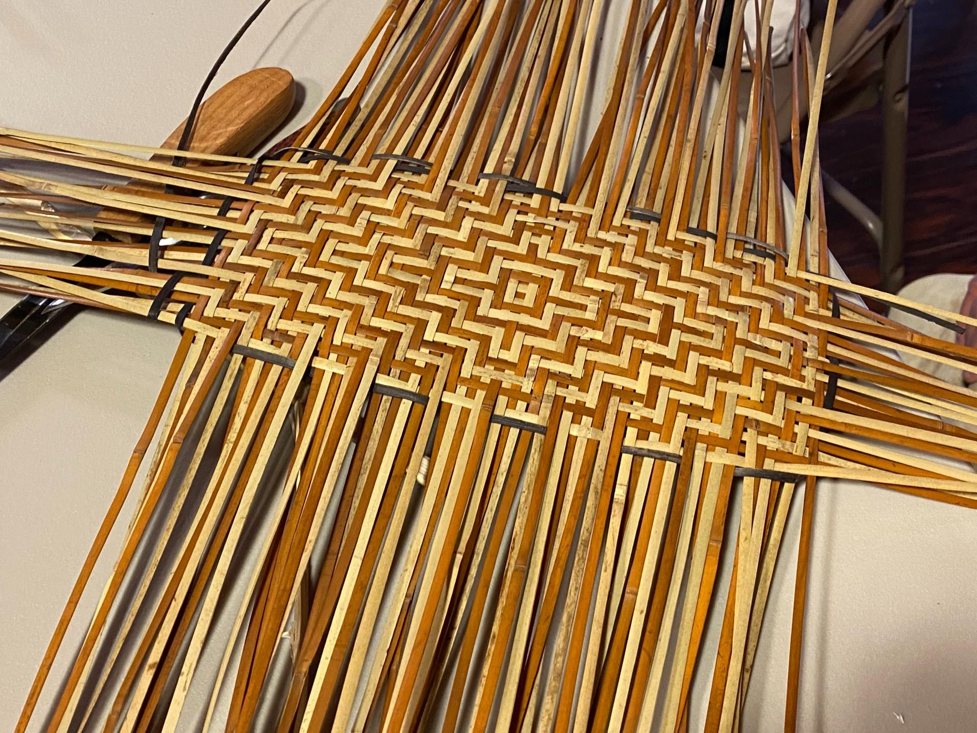 Basket in progress, by Lucille Lossiah